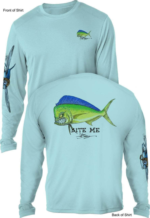 NEW! Bite Me Mahi- UV SUN PROTECTION SHIRT - 100% POLYESTER -LONG SLEEVE UPF 50