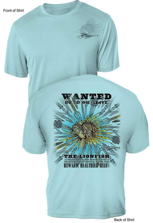 Lionfish Wanted-Spears- UV Sun Protection Shirt - 100% Polyester - Short Sleeve UPF 50