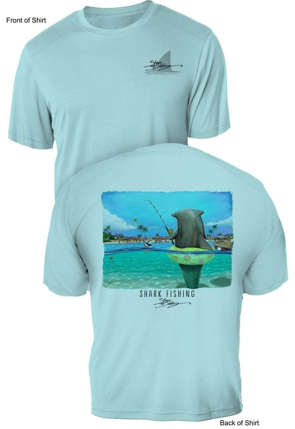 Shark Fishing- UV Sun Protection Shirt - 100% Polyester - Short Sleeve UPF 50