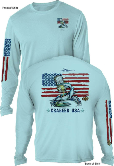 NEW! Crabeer USA - UV SUN PROTECTION SHIRT - 100% POLYESTER -LONG SLEEVE UPF 50