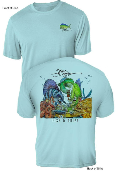 Fish N' Chips- UV Sun Protection Shirt - 100% Polyester - Short Sleeve UPF 50