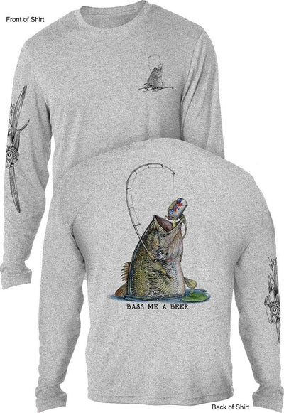 Bass Me A Beer - UV SUN PROTECTION SHIRT - 100% POLYESTER -LONG SLEEVE UPF 50