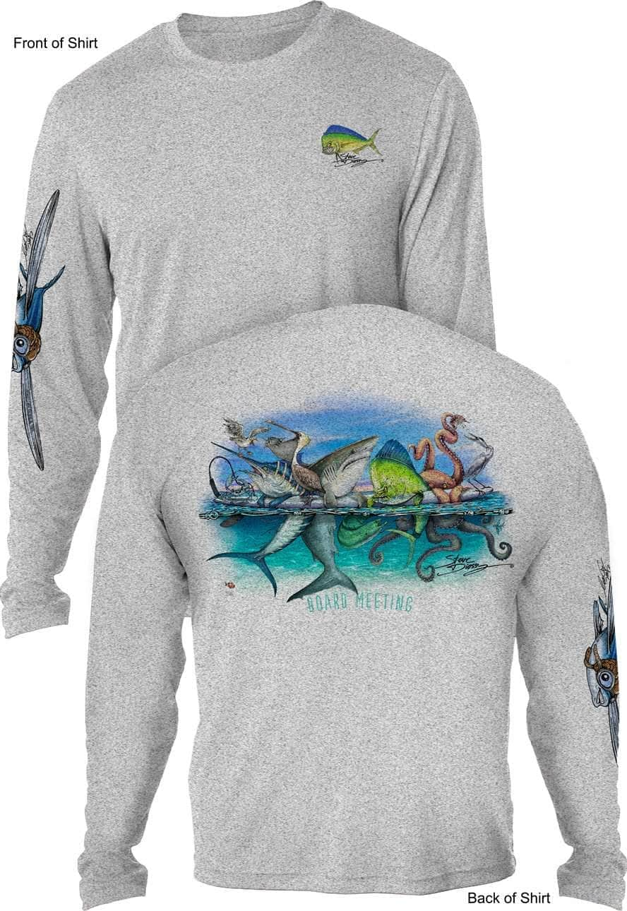Long Sleeve Microfiber UPF Florida Flats Fishing Shirt Heather Gray