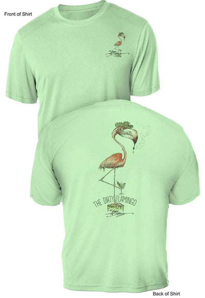 Dirty Flamingo- UV Sun Protection Shirt - 100% Polyester - Short Sleeve UPF 50