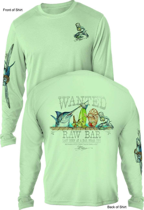 Raw Bar- UV SUN PROTECTION SHIRT - 100% POLYESTER -LONG SLEEVE UPF 50