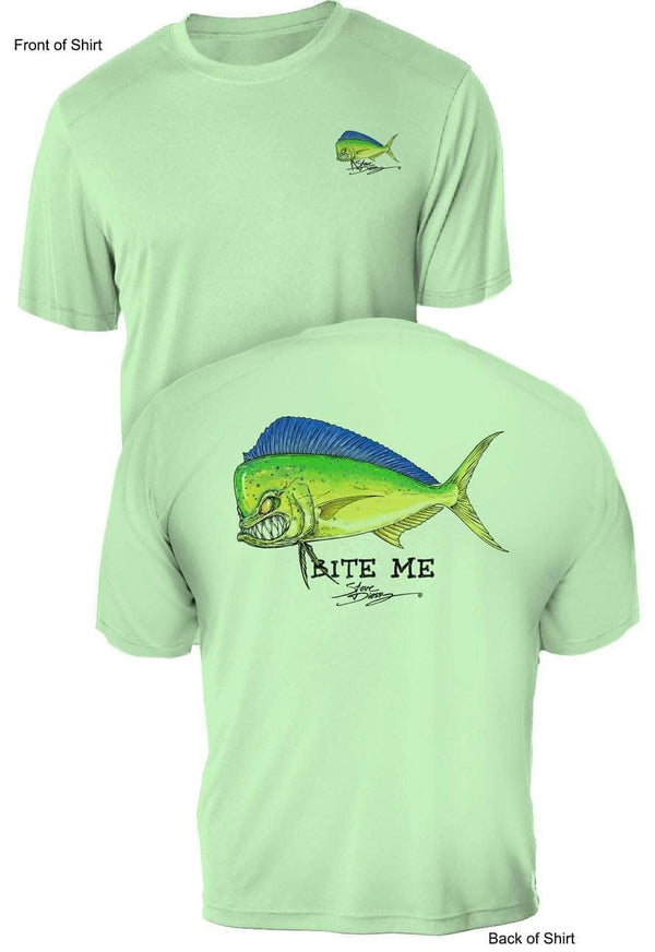 NEW! Bite Me Mahi- UV Sun Protection Shirt - 100% Polyester - Short Sleeve UPF 50