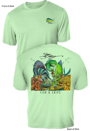 NEW! Fish N' Chips- UV Sun Protection Shirt - 100% Polyester - Short Sleeve UPF 50