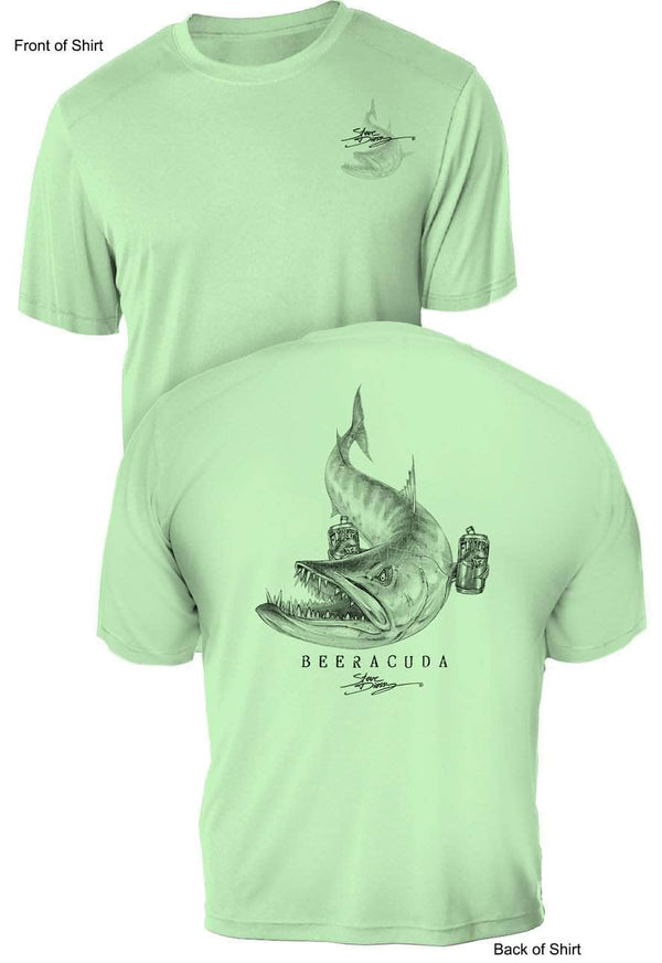 NEW! Beeracuda- UV Sun Protection Shirt - 100% Polyester - Short Sleeve UPF 50