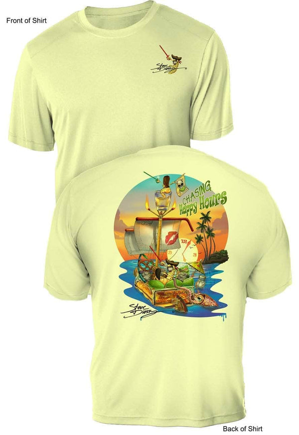 NEW! Chasing Happy Hours- UV Sun Protection Shirt - 100% Polyester - Short Sleeve UPF 50
