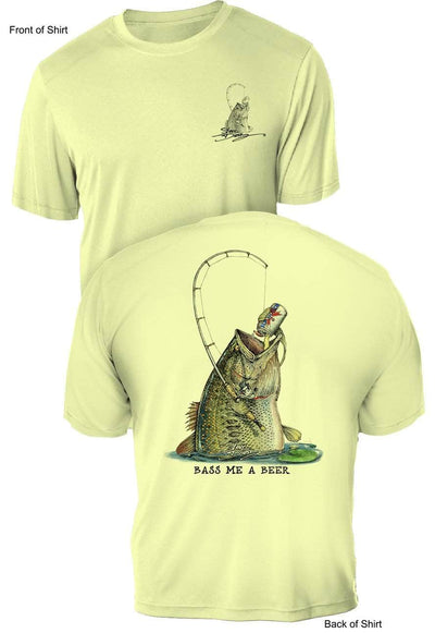 Bass Me A Beer- UV Sun Protection Shirt - 100% Polyester - Short Sleeve UPF 50
