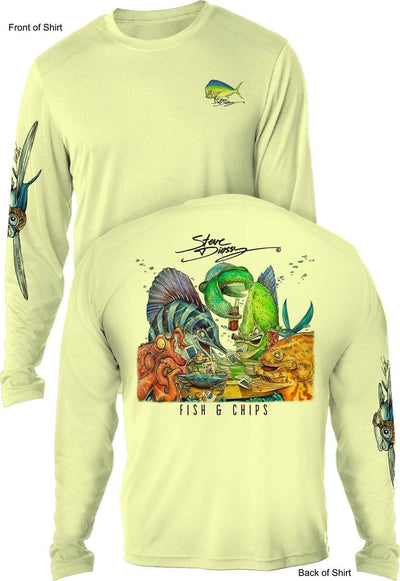 Fish N' Chips- MEN'S LONG SLEEVE SUN PROTECTION SHIRT ᴜᴘꜰ-ᴛᴇᴇ