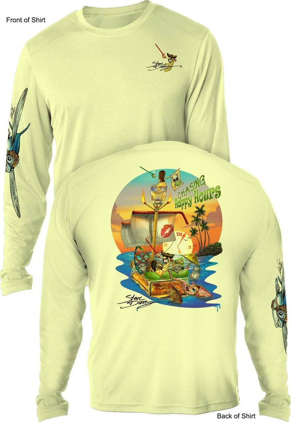 NEW! Chasing Happy Hours- UV SUN PROTECTION SHIRT - 100% POLYESTER -LONG SLEEVE UPF 50