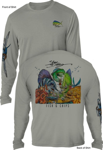 Fish N' Chips- UV SUN PROTECTION SHIRT - 100% POLYESTER -LONG SLEEVE UPF 50
