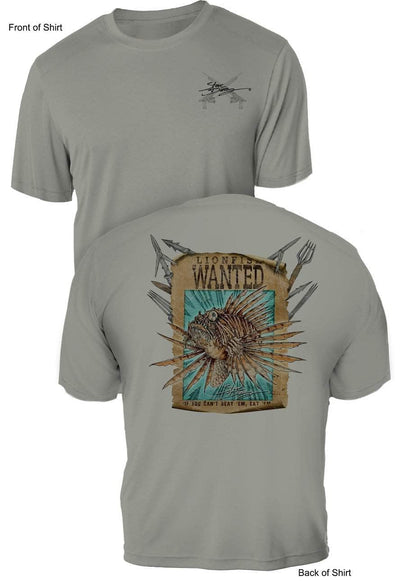 Lionfish Wanted Poster- UV Sun Protection Shirt - 100% Polyester - Short Sleeve UPF 50