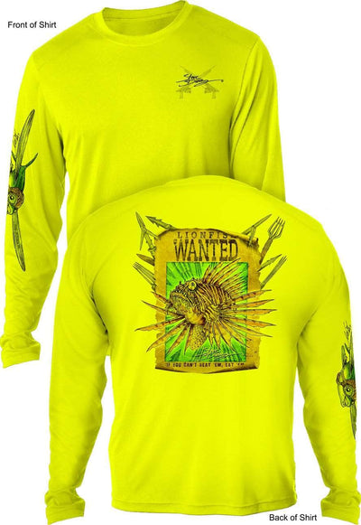 Lionfish Wanted Poster - UV SUN PROTECTION SHIRT - 100% POLYESTER -LONG SLEEVE UPF 50