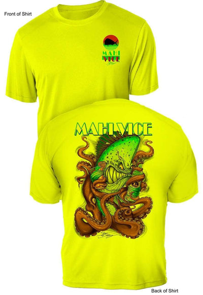 "NEW! ""Mahi Vice""- UV Sun Protection Shirt - 100% Polyester - Short Sleeve UPF 50"