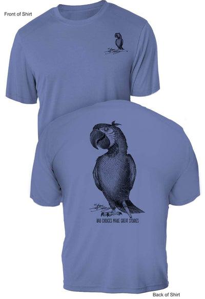 QUICK SHIP-Limited Colors! Pirate Parrot- UV Sun Protection Short Sleeve Shirt - 100% Polyester