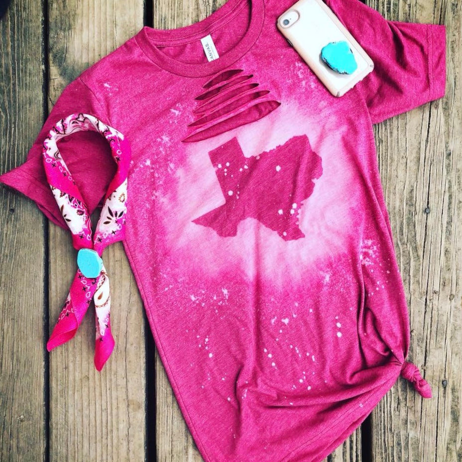 Raspberry Distressed Texas Tee