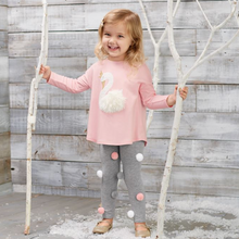 Mud Pie Swan Tunic & Pom-Pom Legging Set