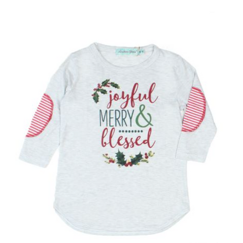 Girls Joyful Merry & Blessed Top