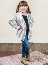 Girls Black and White Striped Cardigan