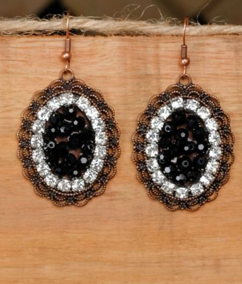 Black Oval Pendant Earrings