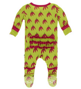 KICKEE PANTS RUFFLE FOOTIE WITH SNAPS- MEADOW CHILI PEPPERS