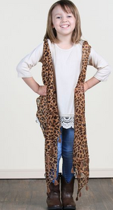 Girls Sheer Leopard Vest
