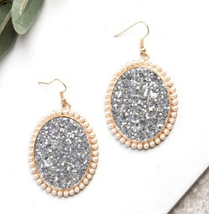 Glitter and Glam Oval Earrings, Silver Glitter