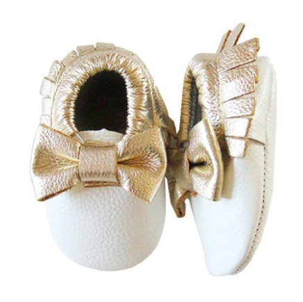 White and Gold Bow Moccasins
