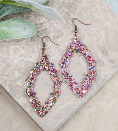 Baroque and Roll Earrings, Multi Glitter