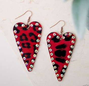 She's a Wild One Heart Earrings with AB Crystals, Red