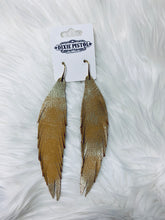 Bronze Blasted Leather Feather Earrings