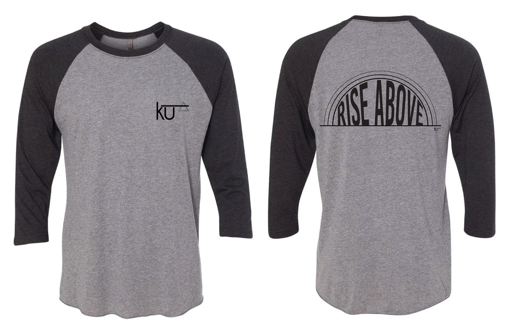 Vintage Black & Heather grey Rise Above Raglan Tee - Image on back of shirt