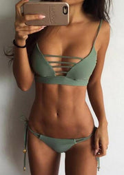 Solid Hollow Out Tie Halter Bikini Set