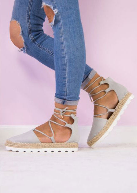 Solid Lace Up Round Toe Sandals