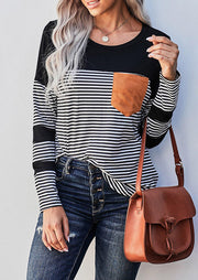 Striped Splicing Pocket Long Sleeve T-Shirt Tee