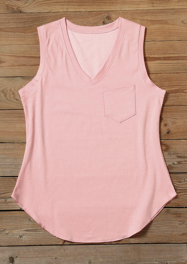 Solid Pocket V-Neck Tank