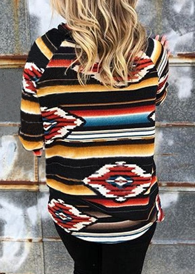 Striped Geometric Cowl Neck Sweatshirt