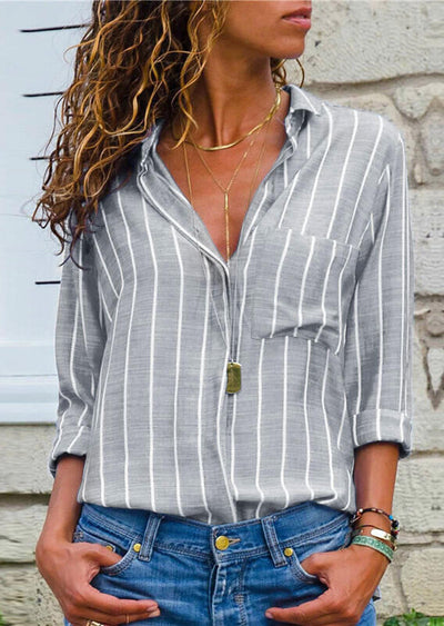 Striped Button Pocket Shirt without Necklace