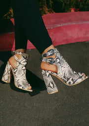 Snake Skin Printed Hollow Out Heeled Sandals