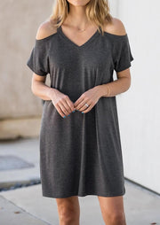 Solid Cold Shoulder Mini Dress - Dark Gray