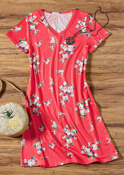Floral V-Neck Mini Dress without Necklace - Red
