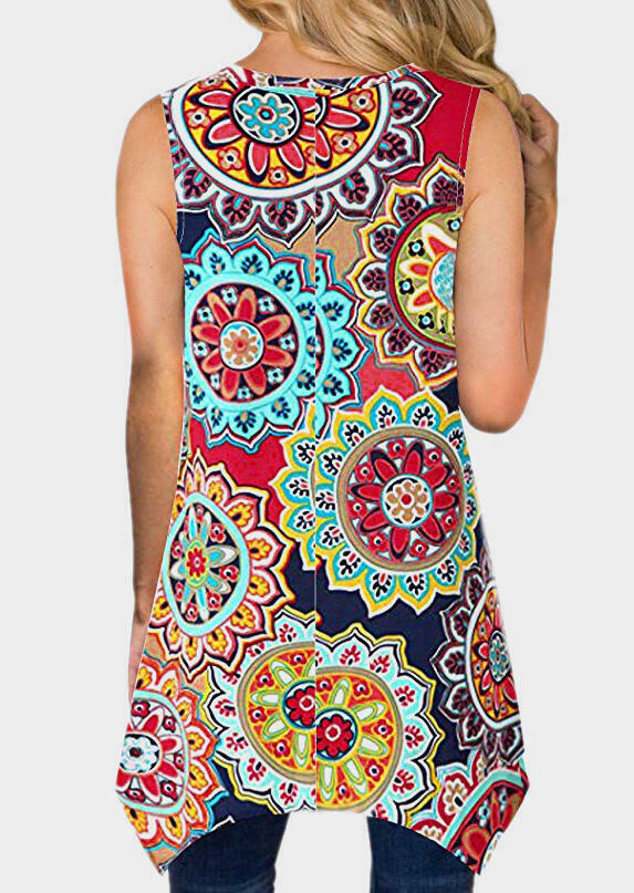 Mandala Printed Irregular Tank - Red
