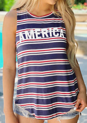 Striped America O-Neck Tank - Stripe