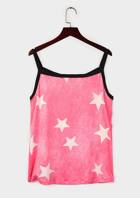 Star Spaghetti Strap Camisole without Necklace - Peach Red