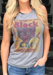 Black Cat O-Neck Tank - Gray