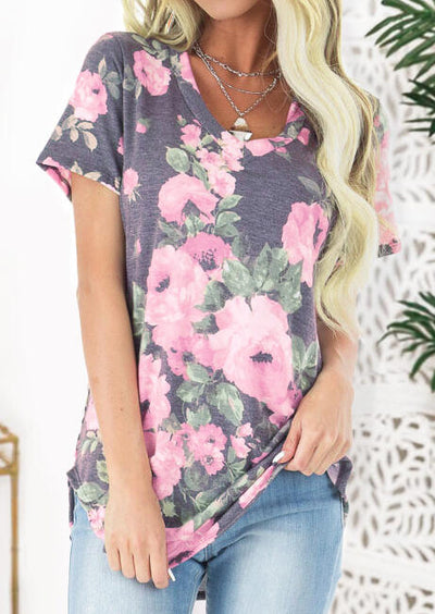 Floral V-Neck Blouse without Necklace - Gray