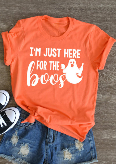 Halloween I'm Just Here For The Boos T-Shirt Tee - Orange