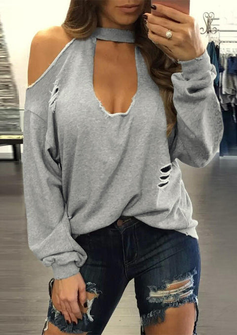 Solid Hollow Out Cold Shoulder Sweatshirt - Gray